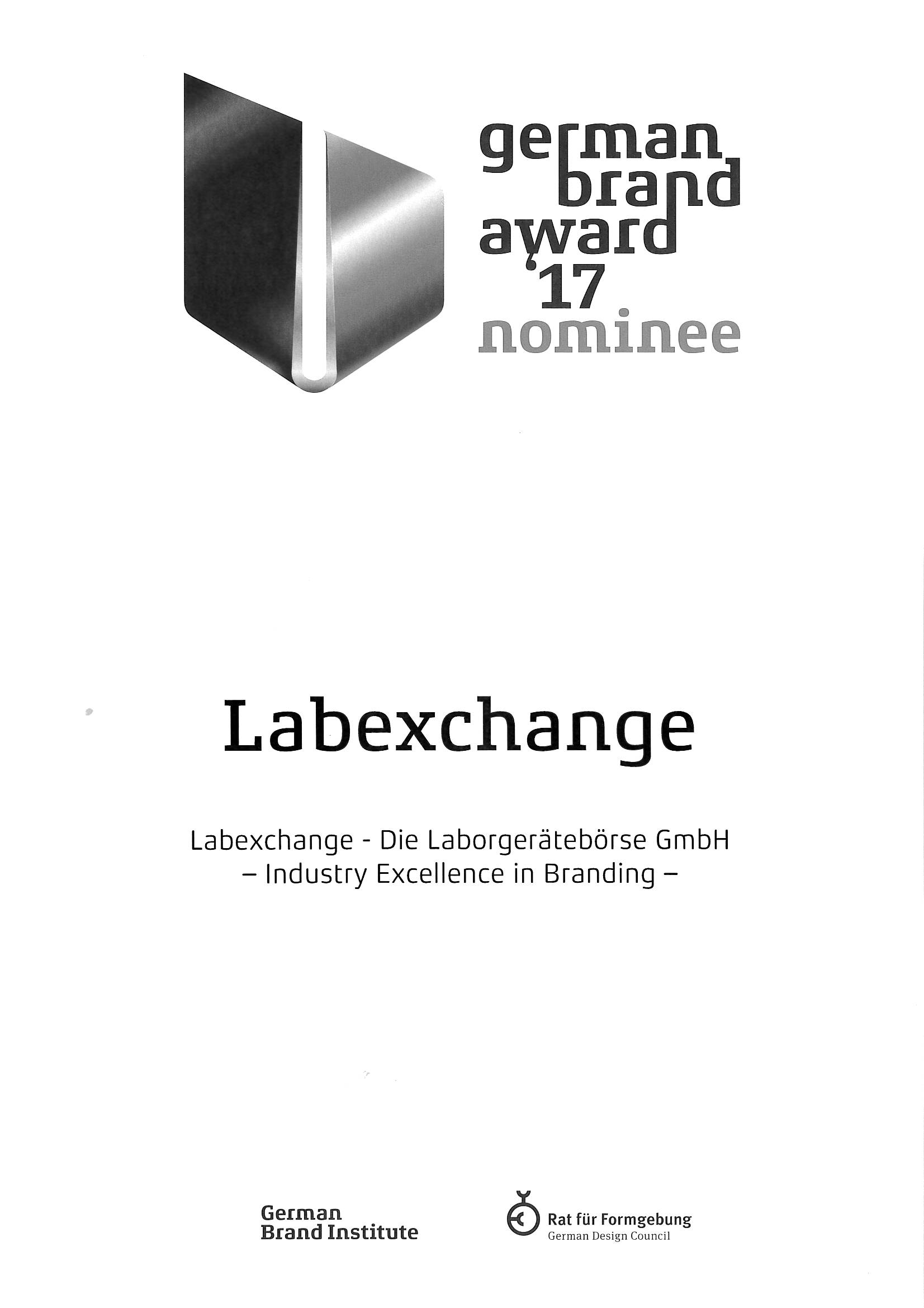 Labexchange is nominated for the German Brand Award